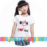 New retail girl cartoon bear i love you fashion clothes baby girls t shirts children tops tees kids short sleeve t-shirt K0895
