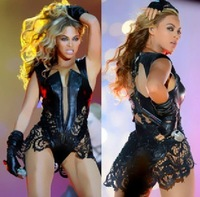 Lace stitching leather sexy Tight leotard Female singer beyonce LadyGaga Showgilrl sexy Costume leotard