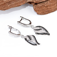 latest design best selling newest styles wholesale 1 pair micro pave 925 Sterling Silver dangle Earrings TZ0134-E