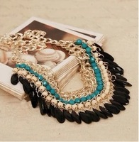 Free Shipping bohemia multi-colored bead beaded drop tassel necklace Statement Necklaces Vintage Jewelry 2013 Fashion