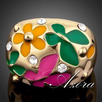 Азора 18 К настоящее позолоченный цветок и бабочка картина маслом шаблон кольцо TR0053