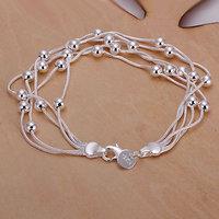 LQ-H234 Free Shipping 925 Silver Bracelet Fashion Jewelry Bracelet Five-line light bead bracelet aiaa izha