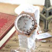 Unisex Aegean Daybird Ceramic Watch Gorgeous Shell Surface Rhinestone Beautiful Round Quartz Watch Wristwatches 039