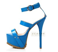 2013 Korean Ladies New Fashion Sexy Squined Buckle Platform Peep Toe 14cm Stiletto High Heels Shoes Party Pumps