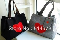 Best Selling!!2013 new fashion women red heart handbag ladies canvas shoulder bag versatile bag Free Shipping