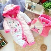 Female baby winter romper cotton outerwear female child romper crawling service jumpsuit bodysuit child coat