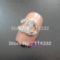 100pcs/ lot Bling Charm Silver 3D Clear Rhinestone Flatback Metal Alloy Carft Nail Art Tips 3d nail art decorations nail art