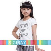 Fashion Girl Cartoon Tshirts Kids Cute Tees Free Shipping Children Summer Tops  K0898