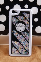 Hot diamond! The clock twill diamond case for iphone4/4S-white  frame and colorful diamond