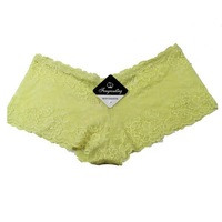 'Fengrouting'Sexy Lace Yellow Boyshorts/Panties/Knickers SZ:10/S B228