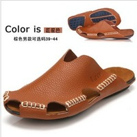 Free shipping 2013 summer  lovers sandals daily casual genuine leather slippers sandals