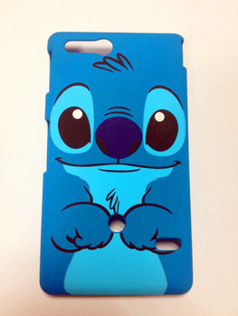 New plastic cartoon stitch hard back case cover fit for Sony Xperia go ST27i blue dog protector hard shell