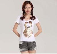Cute Paillette Printed Animal Rabbit T Shirts Women Korean O-Neck Slim White 2013 Shirt Plus Size Cotton Fashion Women's Tee