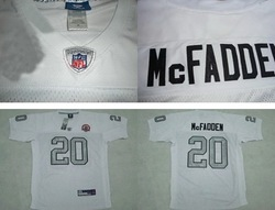 Wholesale-Free Shipping Cheapest Throwback American Football Jersey Darren McFadden #20 White Gold Number W/AFL 50TH Patch(China (Mainland))