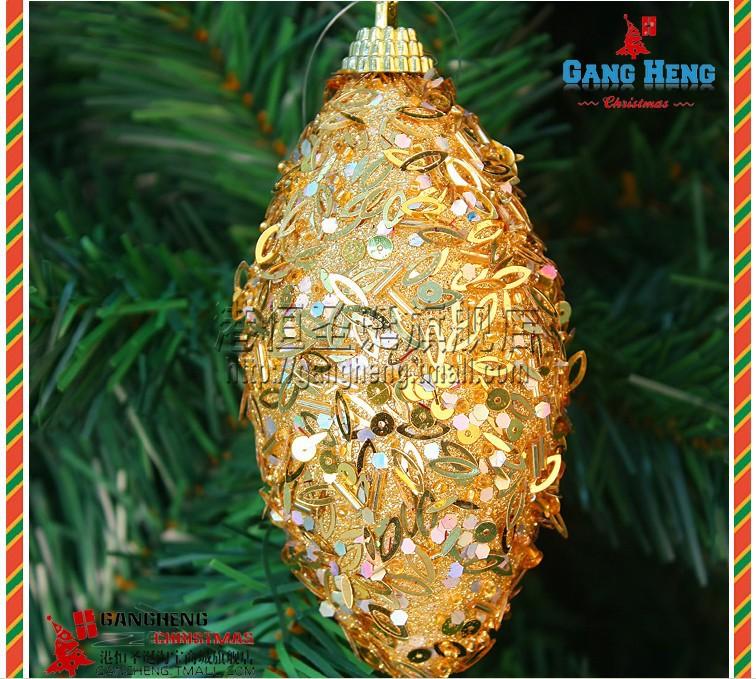 enfeites jardim natal:Enfeites de árvore de natal 10 cm ouro lantejoulas bolas de natal em