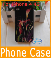 Free Shipping Wholesale Noctilucent Phone Case Shine Calla Flower Hard Back Cover Case For Apple iPhone 4 4S