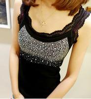 Free Shipping All-match rhinestones lace decoration women's cotton spaghettistrap top vest female basic shirt slim small vest 2