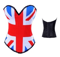 FREE Shipping Women USA & Britain  Flag Print Padded Corset Bustier, Sexy Tops Strapless, Underwear Lingerie  S-2XL
