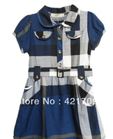 Free shipping 1 piece 2014 girls blue cotton dress with short sleeves in summer