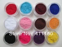 Hot Selling 12 Colors/pack 3D Nail Art Flocking Powder Nails Velvet Art Set, Free shipping