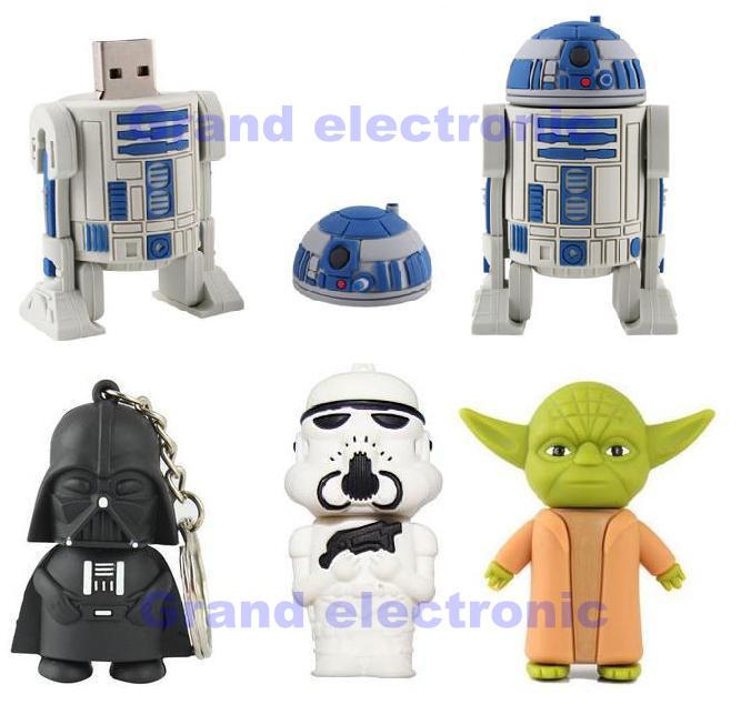 Star Wars Darth Vader yoda Storm Troop D2-R2 USB Flash Drive 4GB 8GB 16GB 32GB USB Memory Stick Pen Drive usb drive(China (Mainland))