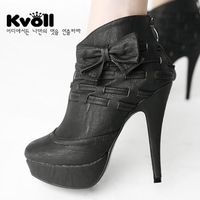 Free shipping 2013 shoes Kvoll high quality PU bow gentlewomen platform ultra high heels autumn boots boots x3846 black