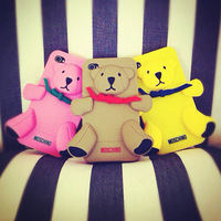 Hot new Milan 3D cute bear silicone case covers for iphone 5 5g 4s 4 with Opp Bag 10pcs/Lot free shipping