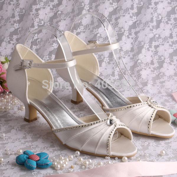 Custom Handmade Ivory Wedding Shoes Low Heel With Crystal Diamond Pearl  Peep Toe Size 34~42