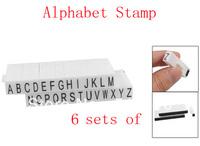 Stationery White Black Plastic Handle A-Z Letters Alphabet Stamp Set 6 Sets Of