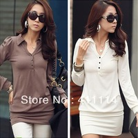 2014 New hot trendy cozy fashion women clothing cute Elegant Noble ladies active sexy dress Wild Slim Buttons JU