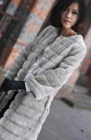 Spring female long design slim faux stripe top faux fur plush overcoat outerwear wumen overcoat