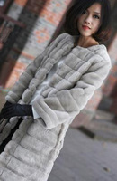 Spring female long design slim faux stripe top faux fur plush overcoat outerwear wumen overcoat