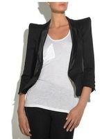 FREE SHIPPING 2013 NEW fashion Shoulder pads three quarter sleeve women's blazer women's suits the black coat  B306