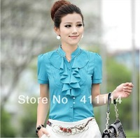 2014 new Promotions hot trendy cozy women blouse shirts Fashion Slim commuter white shirt with short sleeves Chiffon JU