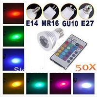 DHL FEDEX Free Shipping! 50XEnergy Saving 5W E27 GU10 MR16 RGB E14 LED Bulb Lamp light Color changing IR Remote