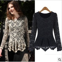 Free Shipping New Arrival Woman's Lace Shirts Ladies'  Quality Full Sleeve Dress Shirts Black/Apricoat/Dark Blue S-XXL MG-050