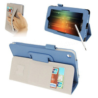 Pure Color Leather Case with Holder & Elastic Hand Strap & Credit Card Slots & Touch Pen for HP Slate 7, Free shipping!!!!