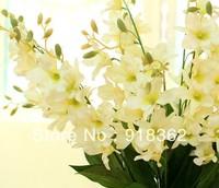 Fresh Trend!Free Shipping(24pcs/Lot)Good Quality,Matt Fabric Long Single Artificial Cattlya Flower,w/Leaves,4C can Mix Per Lot