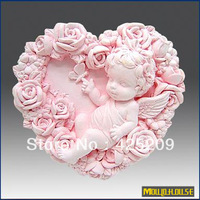 supernova sale new 2013 3D Handmade soap silicone mold,  baby molds heart shaped rose angel candle mould,moulds, wholesale