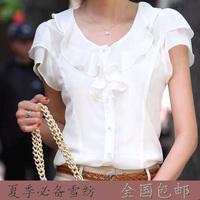 Sun protection shirt short-sleeve chiffon shirt female shirt plus size slim fashion sun protection clothing chiffon