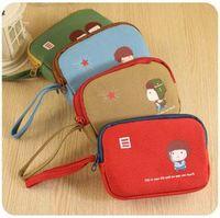 Free shipping 2pes/lot wholesale South Korea captains cute kid double zipper Coin Purses/key bag 12*8.5*2.8cm 4 colors
