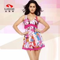 Msge female one-piece dress small push up swimwear