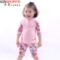 Child hot spring female child swimwear surfing suit anti-uv ezi12004 3 - 13 swimming cap