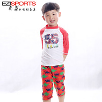 Child swimwear male child swim trunks surfing suit anti-uv swimming cap ezi16009