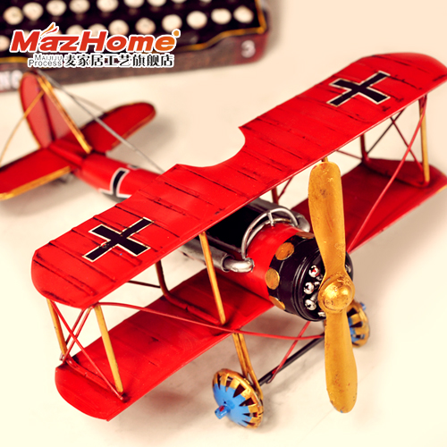 Biplane model handmade fighter tin red fitted wing customize 1 meters(China (Mainland))