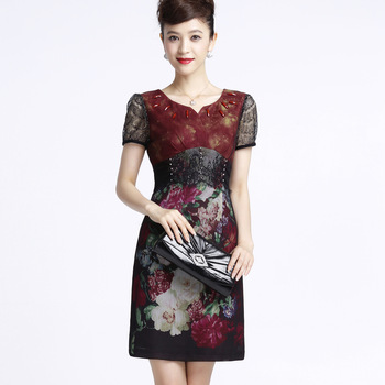 new fashion 2013 Lace diamond print  female slim short-sleeve women's silk dress plus size 0258001309