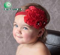 cute BABY HEADBANDS feather hair tie hairbands girls' headwear children's head band 18 colors