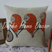 45*45cm Orange Three Owls on the Bike Bicycle Linen Cushion Cover Pillow Case
