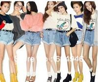Hot selling!!stylenanda shorts crimping loose big yards female retro denim shorts overalls  free shipping