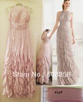 Client order dress modest Halter ruffle ladies modern evening dress